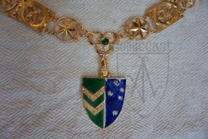 Medieval Knight necklace of 15th-14th centuries with the heraldic pendant