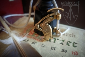 """Medieval badge """"A Rabbit with axe"""" 1340-1500 front 2"""