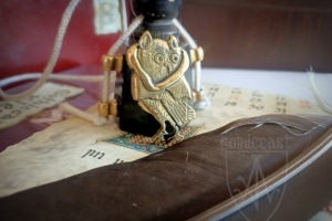"Medieval badge ""Owl in hood"" 1340-1500 front"