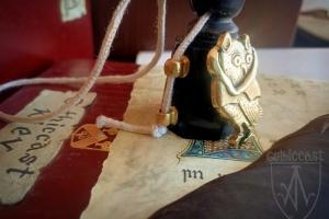 """Medieval badge """"Owl in hood"""" 1340-1500 side"""