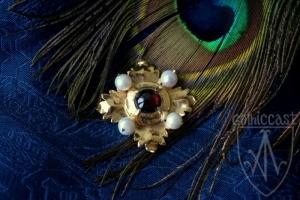 Brooch Megi with garnet on blue silk