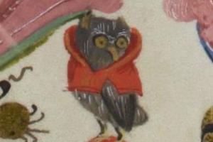"""Medieval badge """"Owl in hood"""" 1340-1500 medieval manuscript"""
