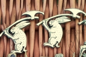 Medieval badge the rabbit with the axe