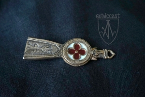 Strap-end with letters with red and white enamel