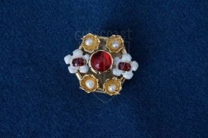 Burgundy brooch with enamel