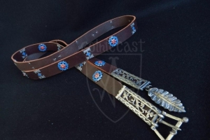 Flemish medieval belt with mounts (blue enamel)